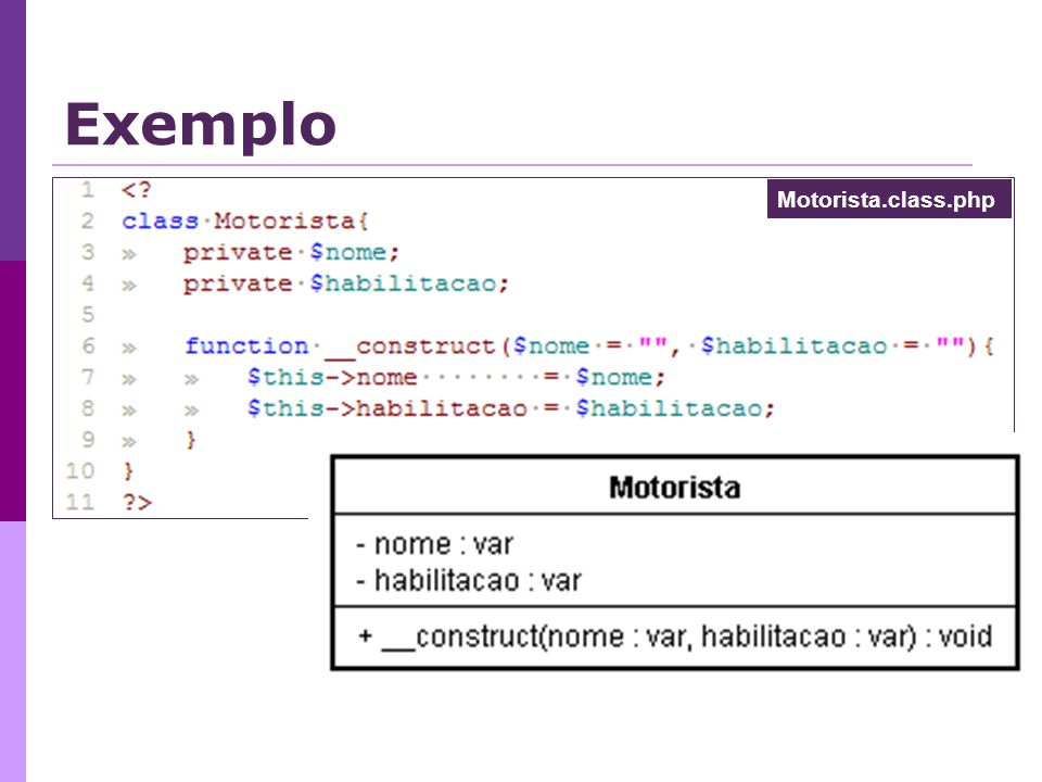 Exemplo Motorista.class.php