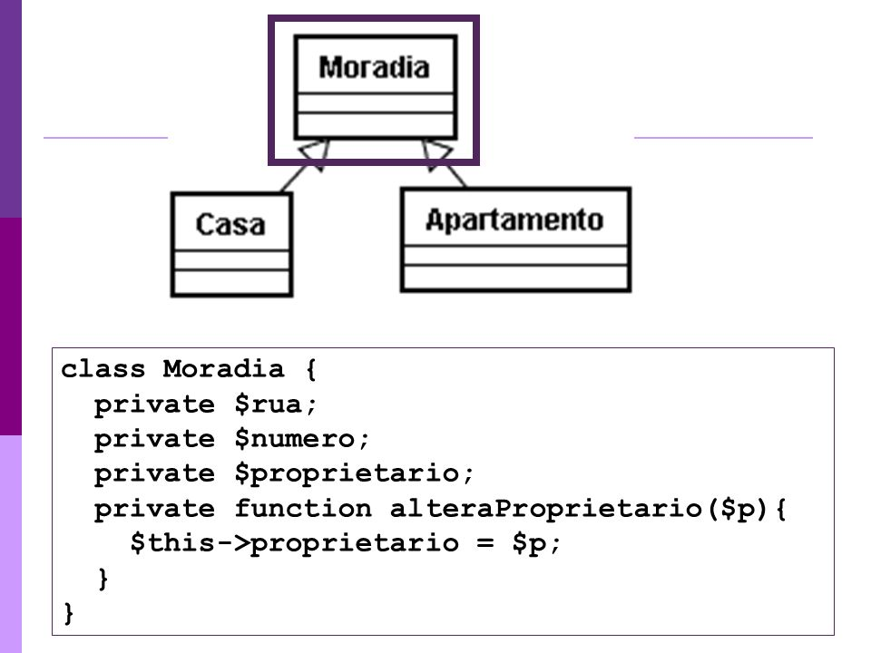 class Moradia { private $rua; private $numero; private $proprietario; private function alteraProprietario($p){ $this->proprietario = $p; } }