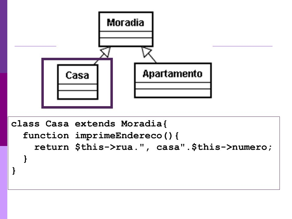 class Casa extends Moradia{ function imprimeEndereco(){ return $this->rua. , casa .$this->numero; } }