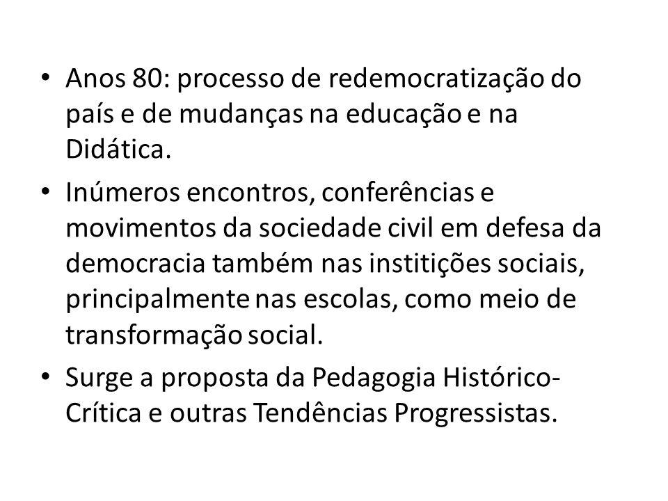 Anos 80: processo de redemocratização do país e de mudanças na educação e na Didática.
