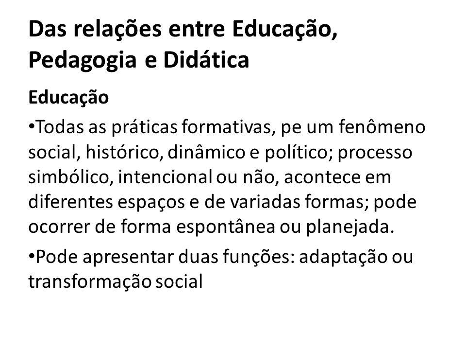 Das relações entre Educação, Pedagogia e Didática