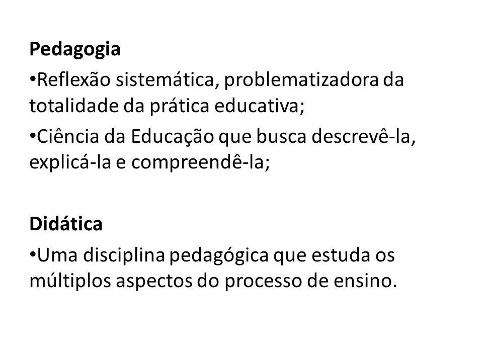 Pedagogia Reflexão sistemática, problematizadora da totalidade da prática educativa;