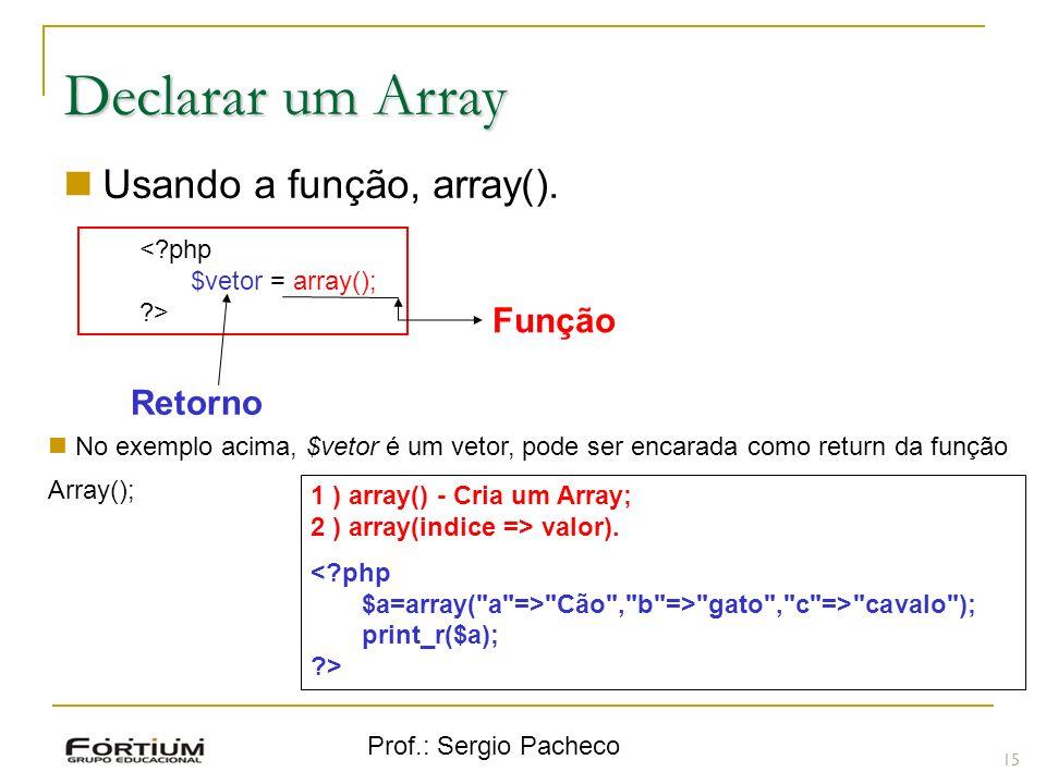 Declarar um Array Usando a função, array(). Função Retorno < php