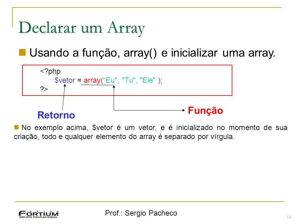 Declarar um Array Usando a função, array() e inicializar uma array.