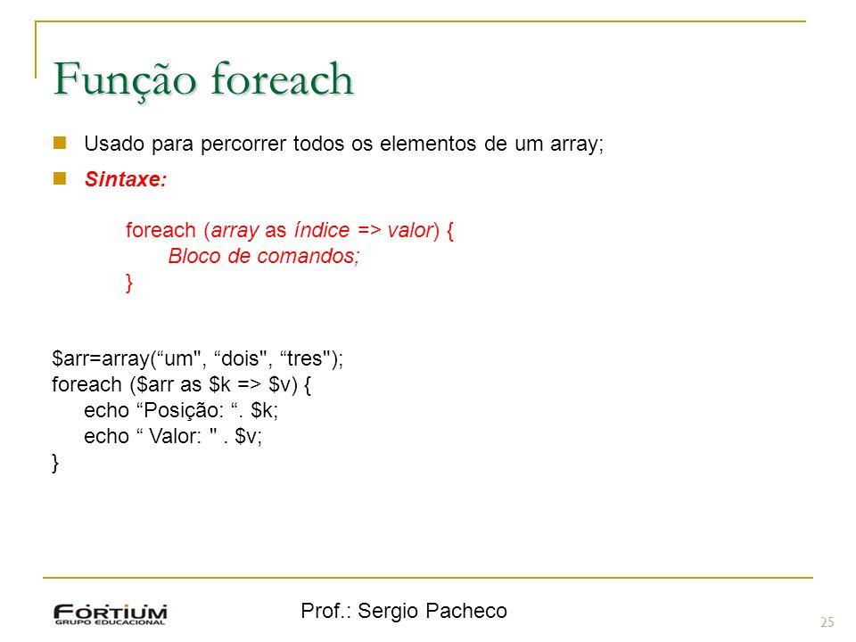 Função foreach Usado para percorrer todos os elementos de um array;