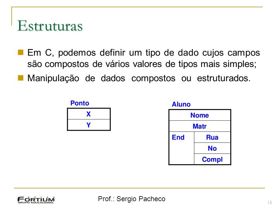 Estruturas Em C, podemos definir um tipo de dado cujos campos são compostos de vários valores de tipos mais simples;