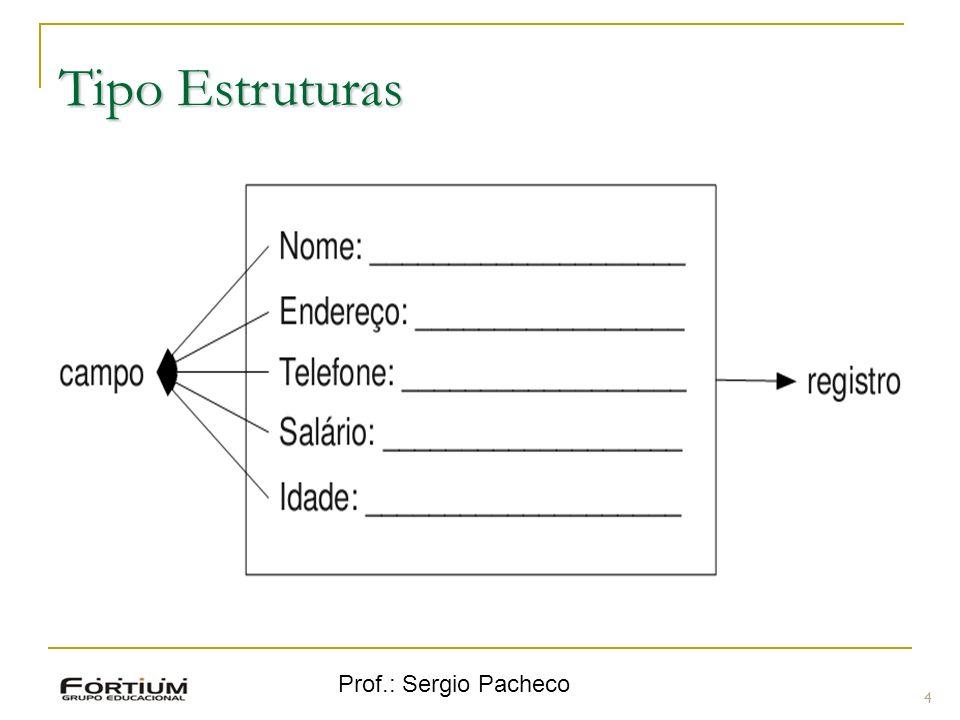 Tipo Estruturas Prof.: Sergio Pacheco 4 4