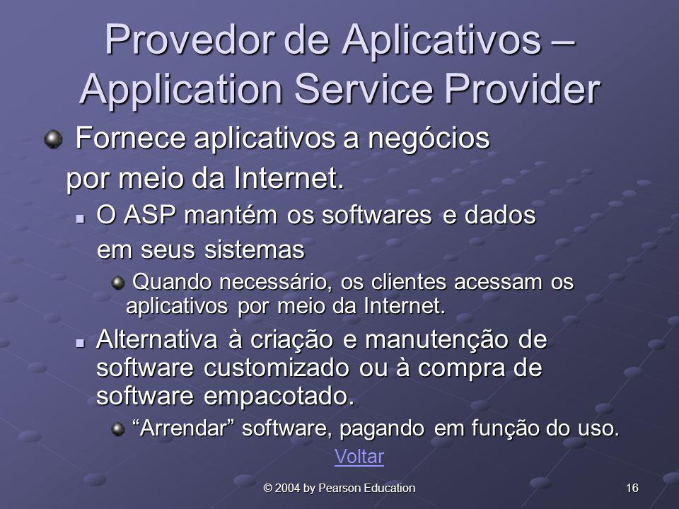 Provedor de Aplicativos –Application Service Provider