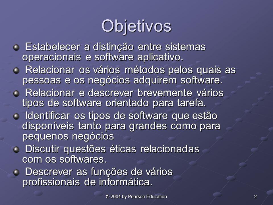 Objetivos Estabelecer a distinção entre sistemas operacionais e software aplicativo.