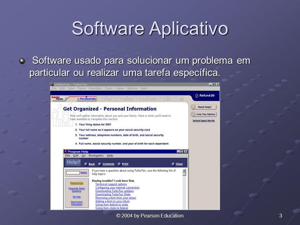 Software Aplicativo Software usado para solucionar um problema em particular ou realizar uma tarefa específica.