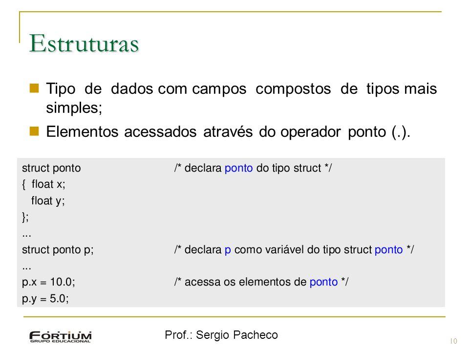 Estruturas Tipo de dados com campos compostos de tipos mais simples;
