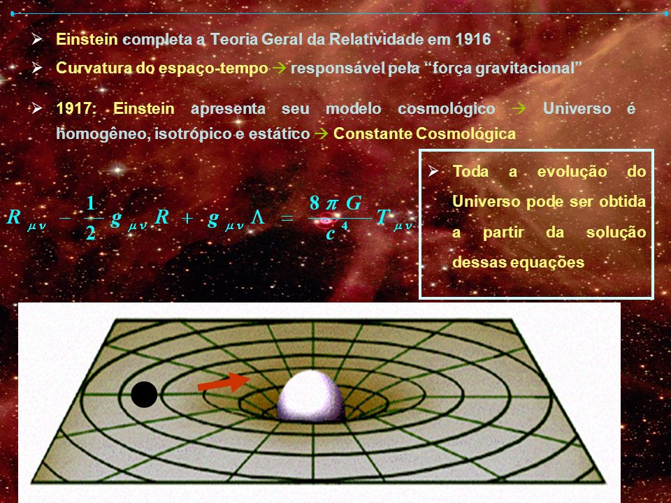 ● Einstein completa a Teoria Geral da Relatividade em 1916