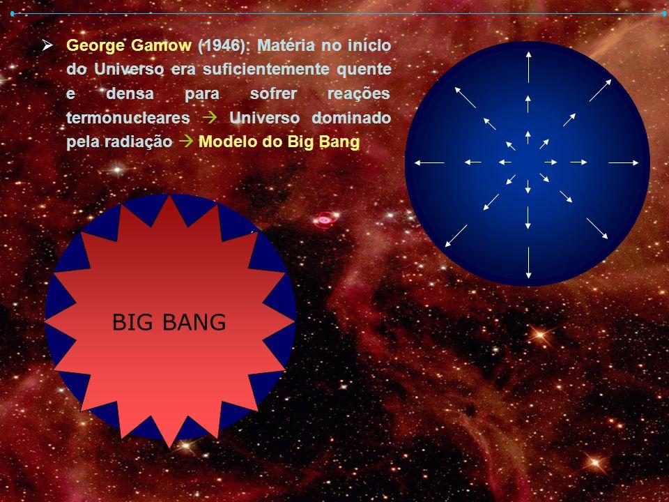George Gamow (1946): Matéria no início do Universo era suficientemente quente e densa para sofrer reações termonucleares  Universo dominado pela radiação  Modelo do Big Bang