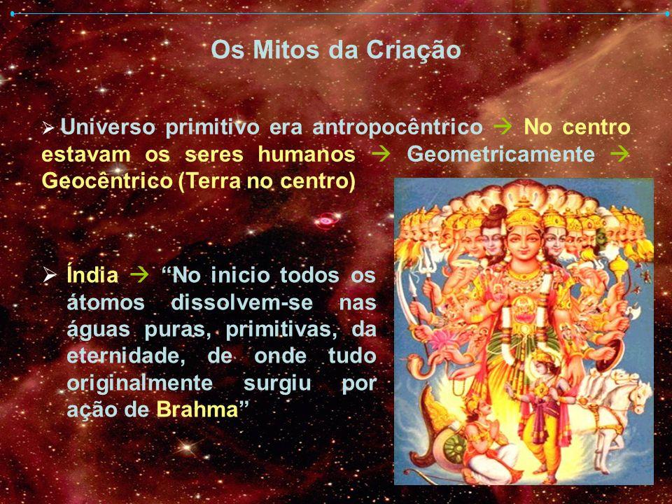 Os Mitos da Criação Universo primitivo era antropocêntrico  No centro estavam os seres humanos  Geometricamente  Geocêntrico (Terra no centro)