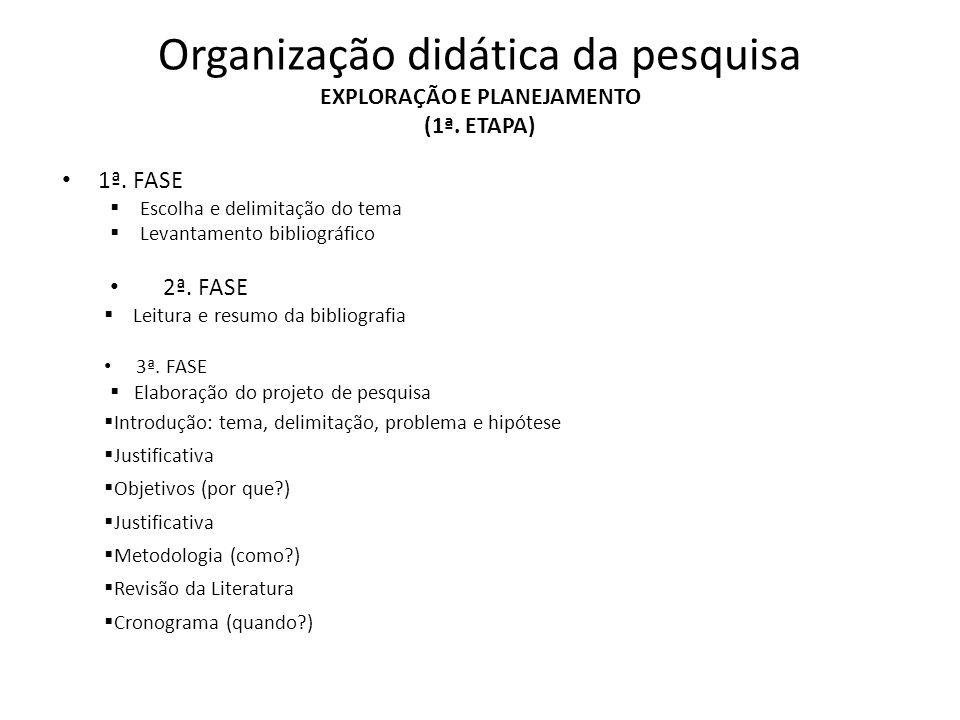 Organização didática da pesquisa EXPLORAÇÃO E PLANEJAMENTO (1ª. ETAPA)