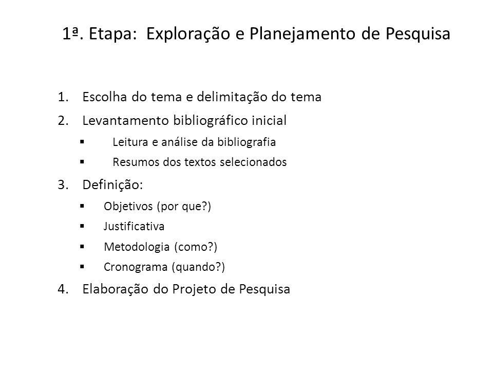 1ª. Etapa: Exploração e Planejamento de Pesquisa