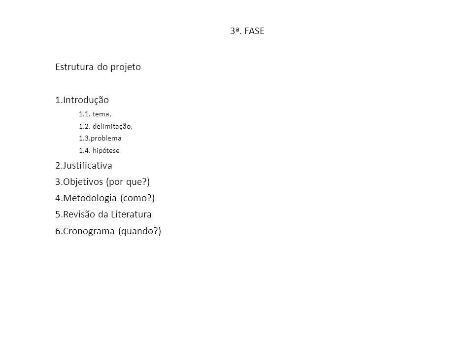 3ª. FASE Estrutura do projeto Introdução Justificativa