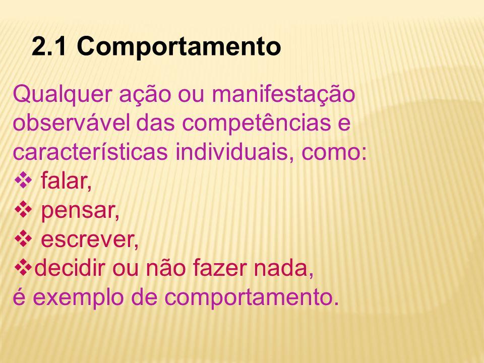 2.1 Comportamento Qualquer ação ou manifestação observável das competências e características individuais, como: