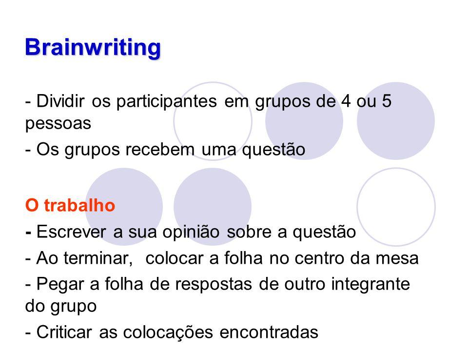 Brainwriting - Dividir os participantes em grupos de 4 ou 5 pessoas