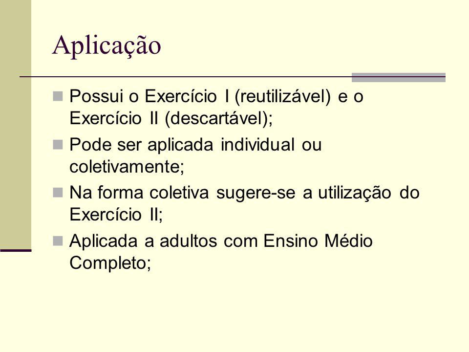 Aplicação Possui o Exercício I (reutilizável) e o Exercício II (descartável); Pode ser aplicada individual ou coletivamente;