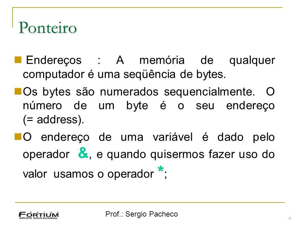 Ponteiro Endereços : A memória de qualquer computador é uma seqüência de bytes.