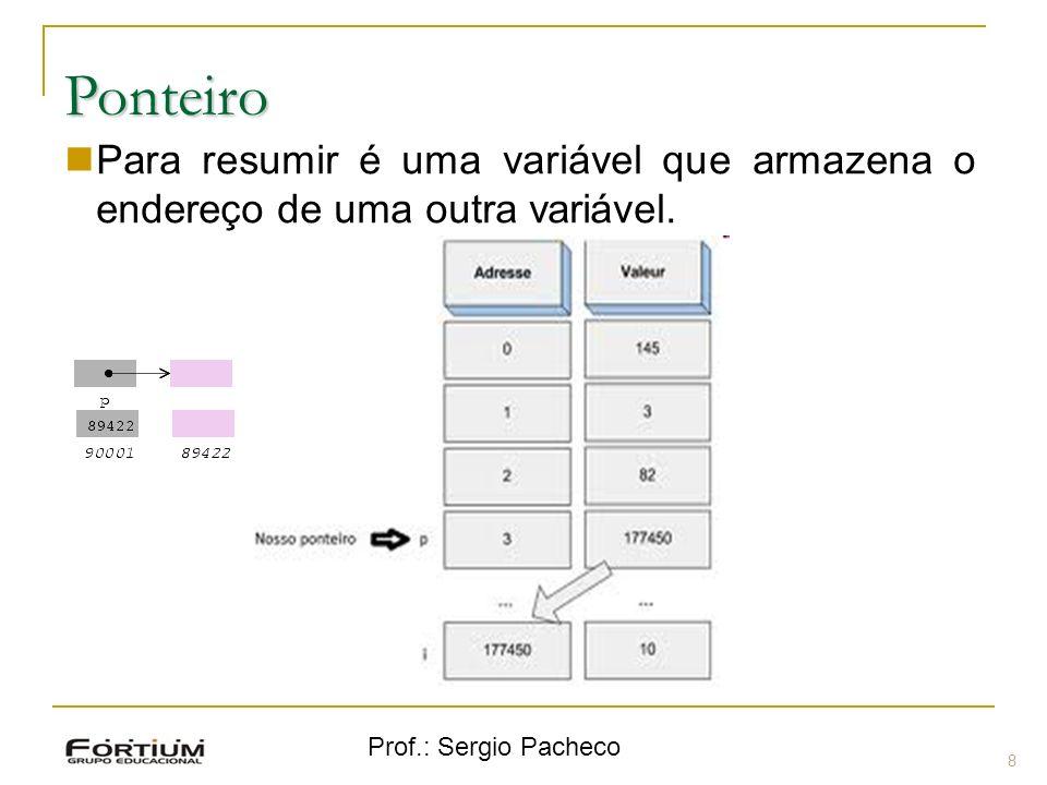Ponteiro Para resumir é uma variável que armazena o endereço de uma outra variável. Prof.: Sergio Pacheco.