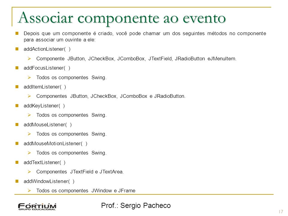 Associar componente ao evento