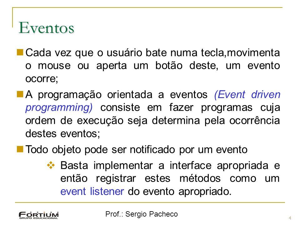 Eventos Cada vez que o usuário bate numa tecla,movimenta o mouse ou aperta um botão deste, um evento ocorre;