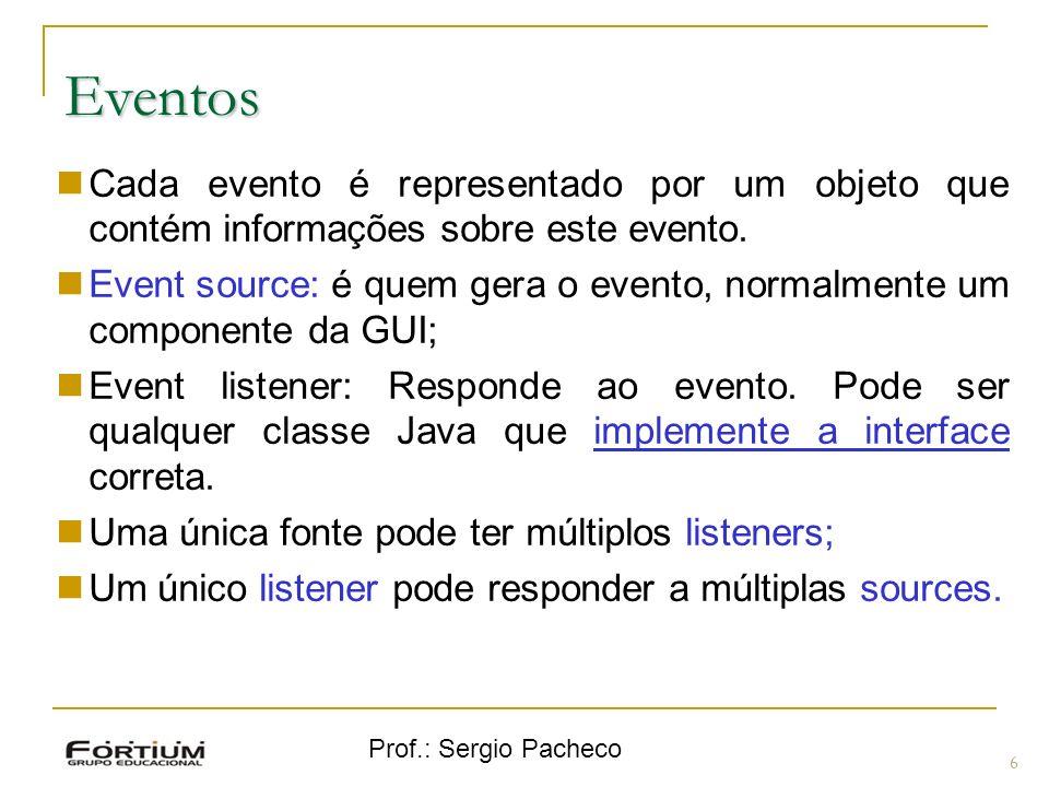 Eventos Cada evento é representado por um objeto que contém informações sobre este evento.