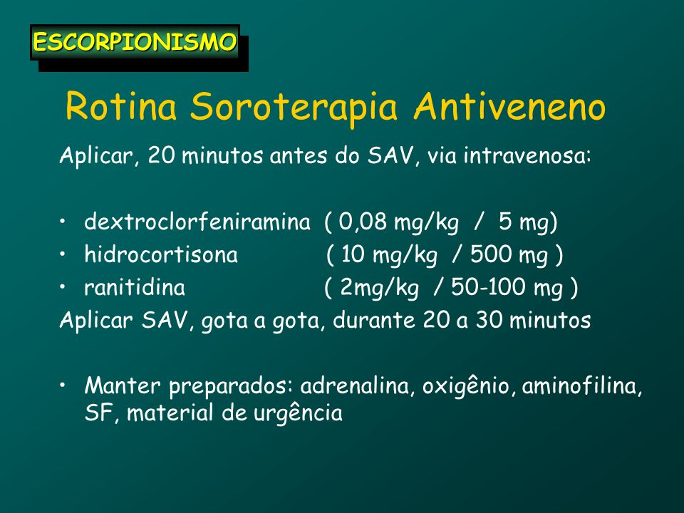Rotina Soroterapia Antiveneno