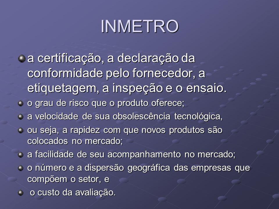 INMETRO a certificação, a declaração da conformidade pelo fornecedor, a etiquetagem, a inspeção e o ensaio.