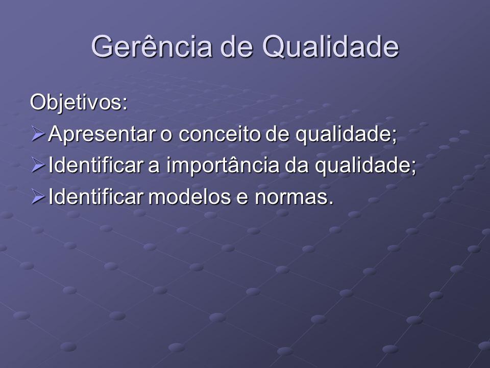 Gerência de Qualidade Objetivos: Apresentar o conceito de qualidade;