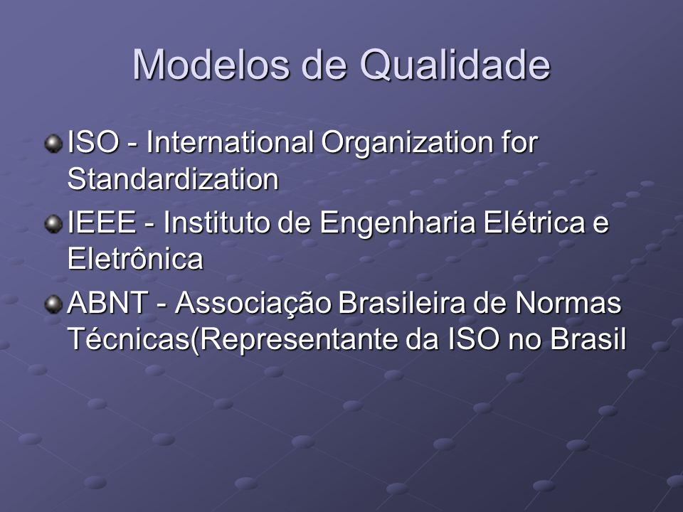 Modelos de Qualidade ISO - International Organization for Standardization. IEEE - Instituto de Engenharia Elétrica e Eletrônica.