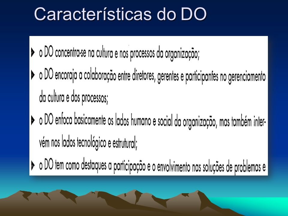 Características do DO