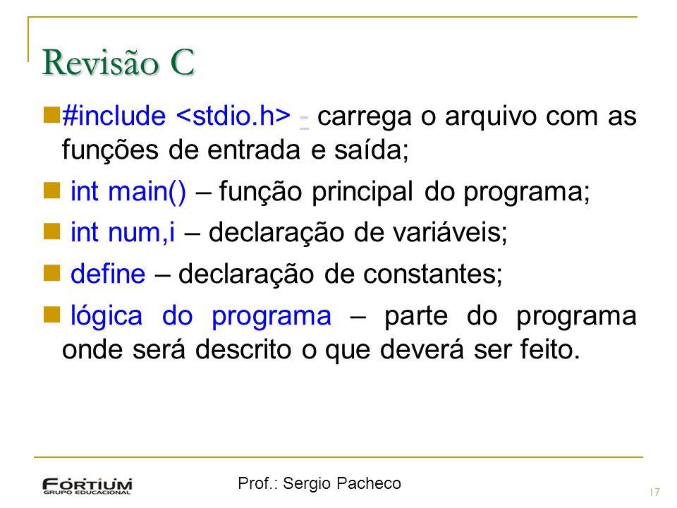 Revisão CRevisão C. #include <stdio.h> - carrega o arquivo com as funções de entrada e saída; int main() – função principal do programa;