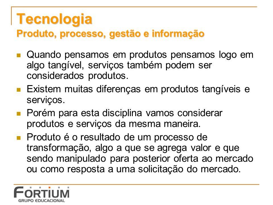 Tecnologia Produto, processo, gestão e informação