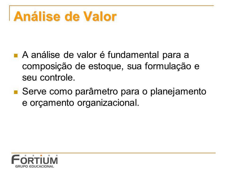 Análise de Valor A análise de valor é fundamental para a composição de estoque, sua formulação e seu controle.