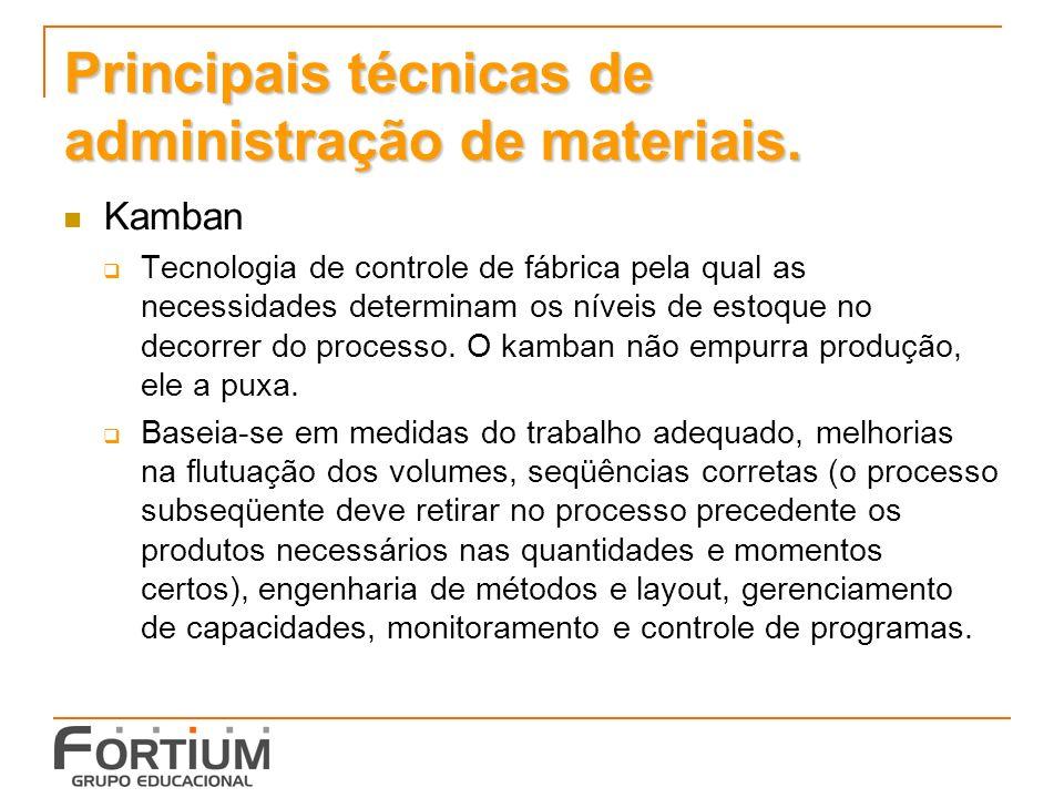 Principais técnicas de administração de materiais.