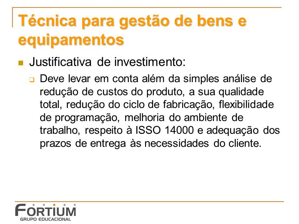 Técnica para gestão de bens e equipamentos