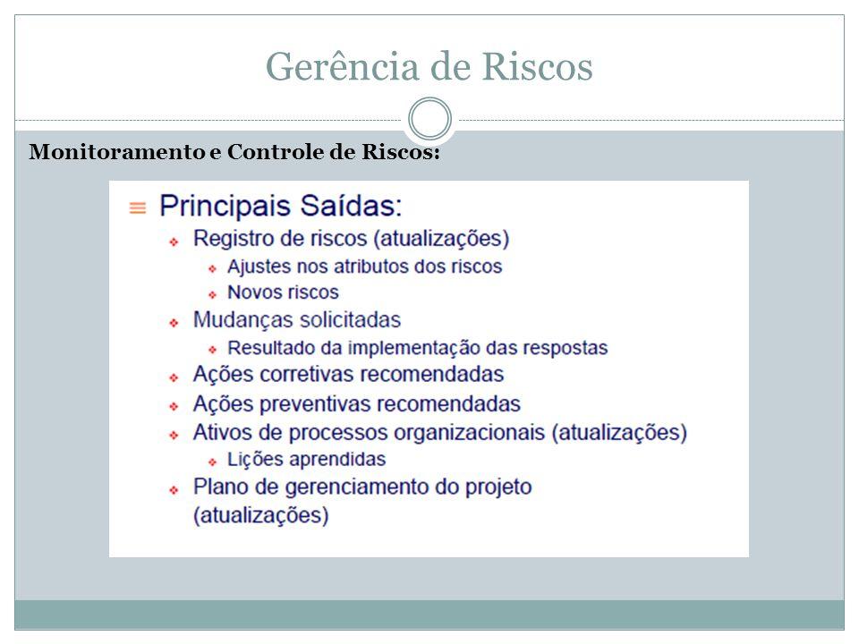 Gerência de Riscos Monitoramento e Controle de Riscos: