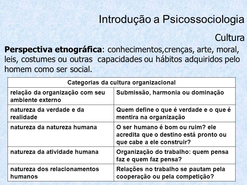 Categorias da cultura organizacional