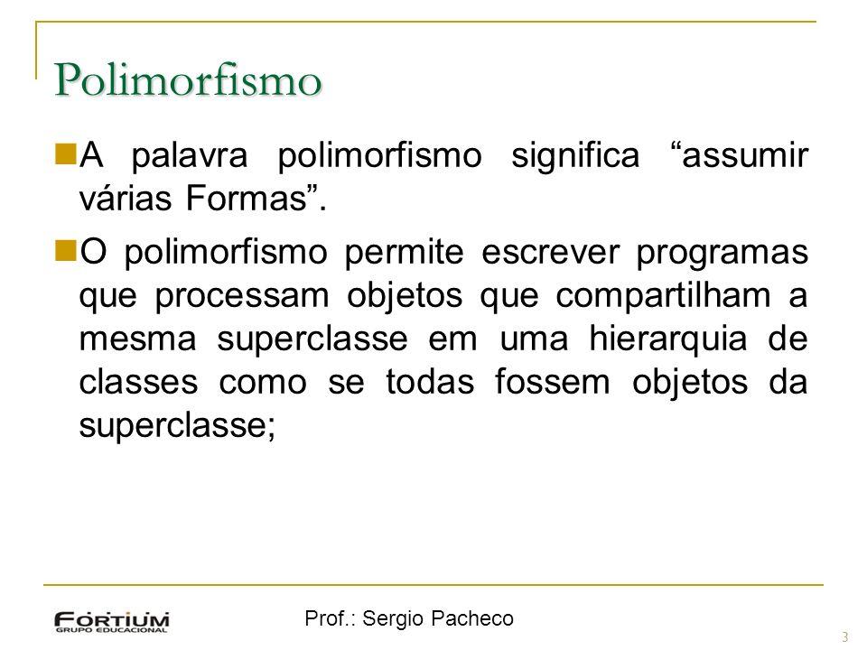 Polimorfismo A palavra polimorfismo significa assumir várias Formas .
