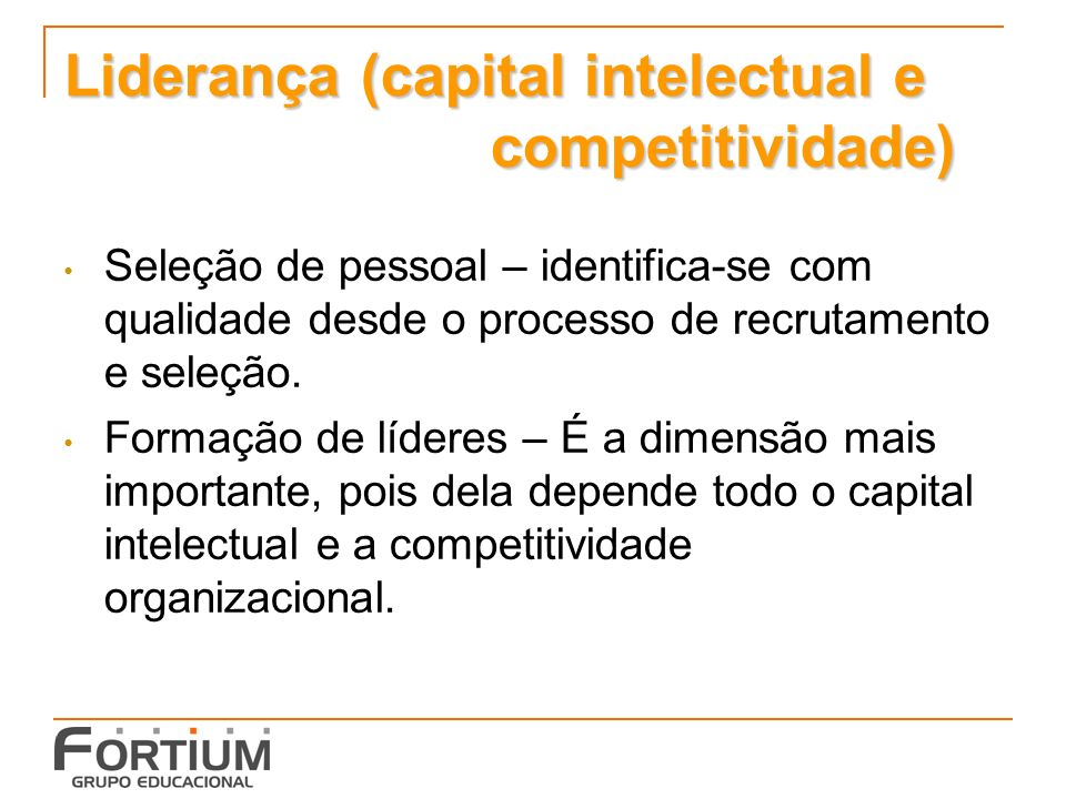 Liderança (capital intelectual e competitividade)