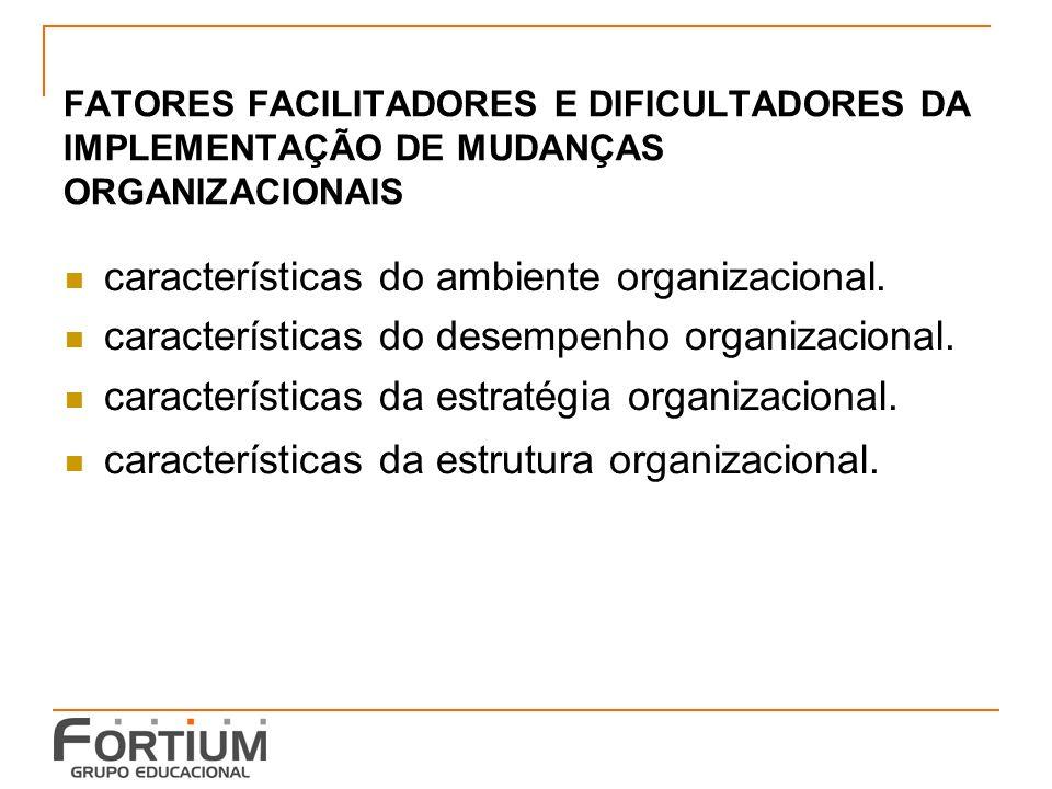 características do ambiente organizacional.
