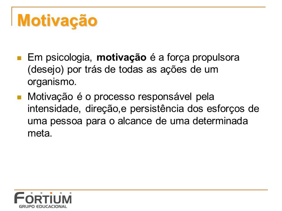 Motivação Em psicologia, motivação é a força propulsora (desejo) por trás de todas as ações de um organismo.