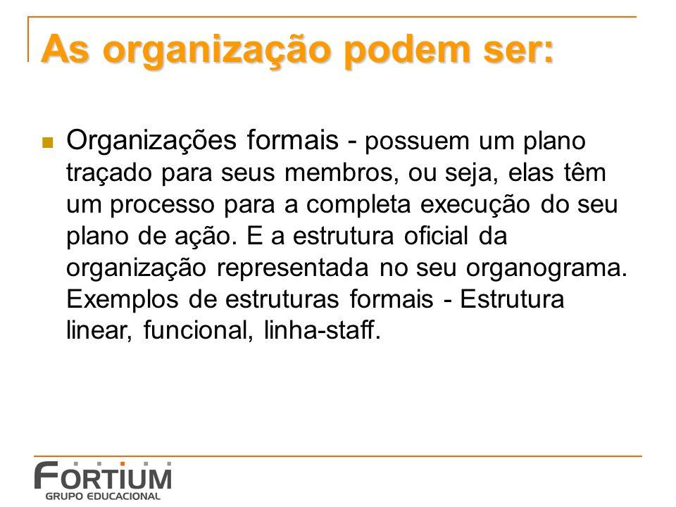 As organização podem ser: