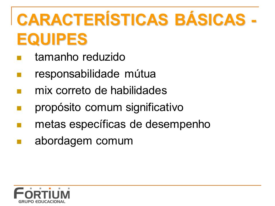 CARACTERÍSTICAS BÁSICAS - EQUIPES