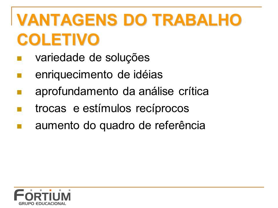 VANTAGENS DO TRABALHO COLETIVO