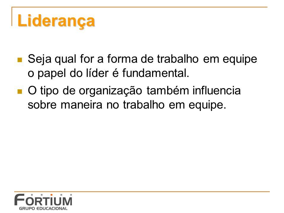 Liderança Seja qual for a forma de trabalho em equipe o papel do líder é fundamental.