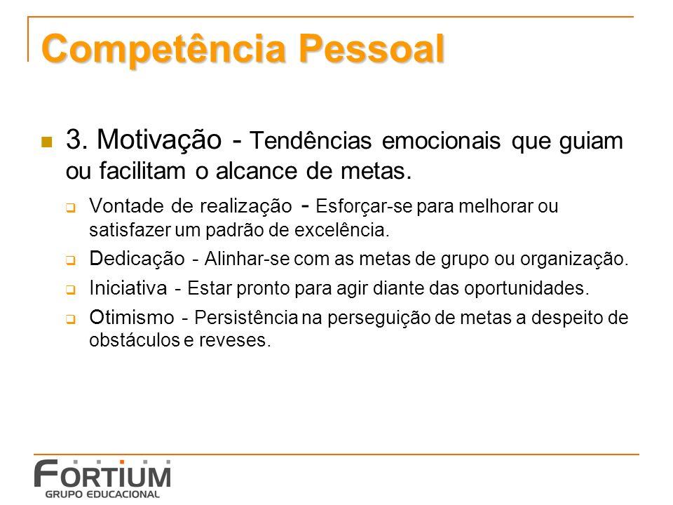 Competência Pessoal 3. Motivação - Tendências emocionais que guiam ou facilitam o alcance de metas.
